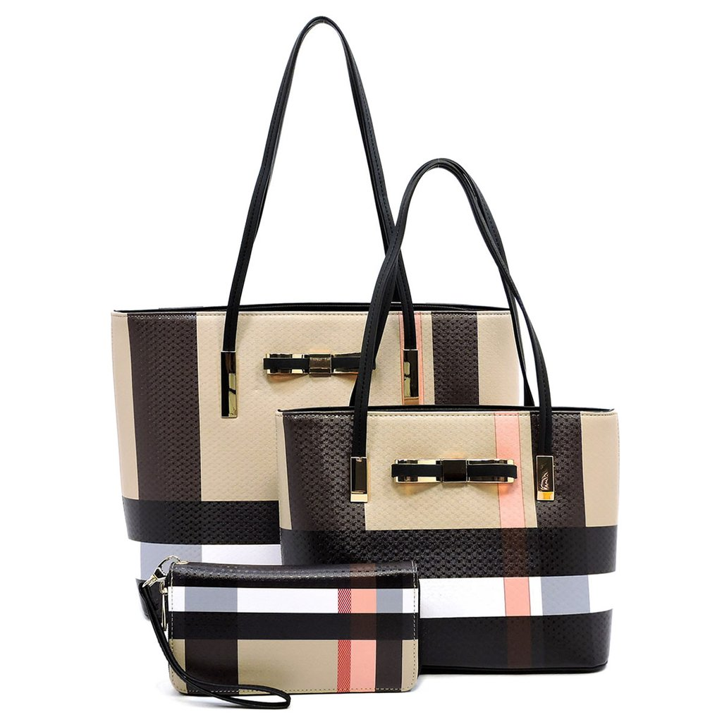 3 Piece Handbag Set – Plaid
