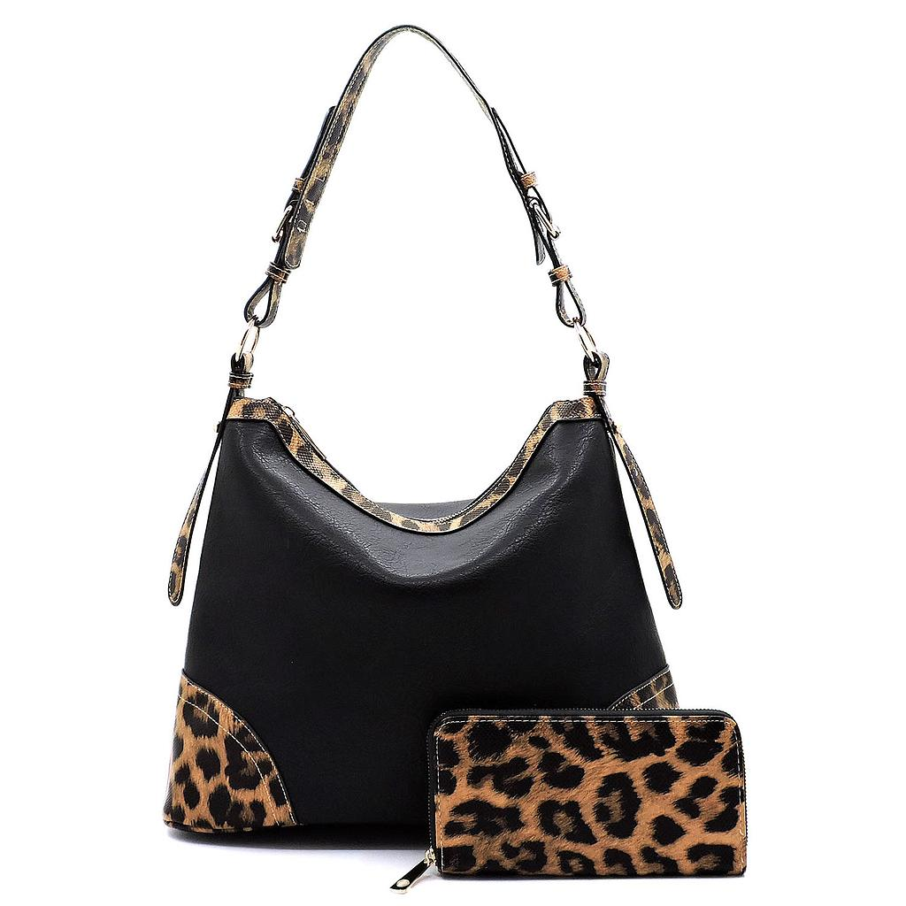 Leopard Trim 2-in-1 Shoulder Bag Hobo