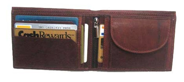 Wallet - Leather - Bi-Fold 8 CC Slots Change Holder