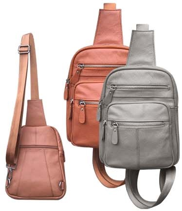 Compact Sling Backpack - Leather