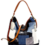 Denim Mixed Material Patchwork Washed Canvas Hobo