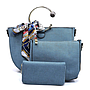 Scarf Bow Accent 3 in 1 Metal Handle Half-Moon Satchel SET