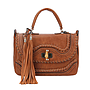 Tassel Accent Whip Stitched Bohemian Style Satchel